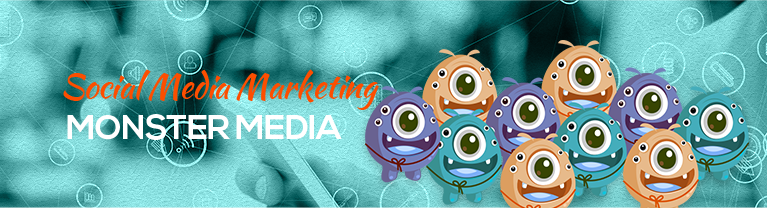 Group of Social Media Monsters and Social Media Icons